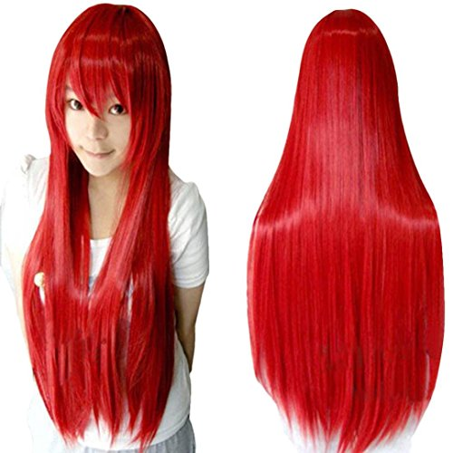[Wig,Baomabao 80CM Long Straight Cosplay Wig Multicolor Heat Resistant Full Wigs (Red)] (1950s Wig)