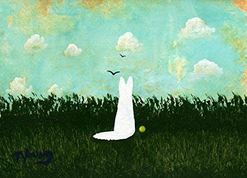 (WHITE German Shepherd Dog Folk Art PRINT by Todd Young SUMMER CLOUDS)