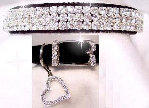 - ~Black Velvet & Diamond Sweetheart~Rhinestone Pet Dog Cat Collar Small