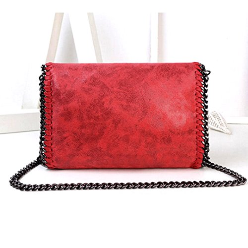 Amily PU Leather Chain Bag Cross Body Bag Hobo Handbag Clutch Shoulder Bag Messenger Bag Purse Pouch for Women Red by Amily (Image #5)