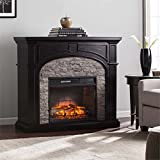 Cheap Southern Enterprises Tanaya Infrared Electric Fireplace in Ebony