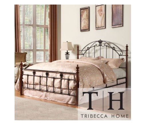 Tribecca Home Newcastle Graceful Scroll Bronze Iron Queen-size Poster Bed