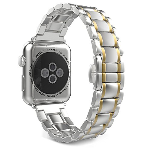 Leefrei Stainless Steel Watch Band Replacement Strap Compatible with Apple Watch Series 4 (40mm) Series 3 2 1 (38mm) - Silver/Golden