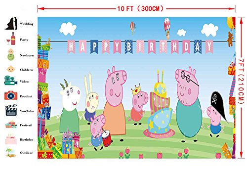 47ad940ef149 FHZON 10x7ft Animation for Peppa Pig Background Photography Happy ...