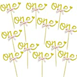 One First 1st Cake Cupcake Toppers Decorations for First Birthday Party, Glitter Golden, 12 Counts by SHXSTORE