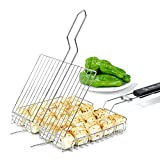 JANRON BBQ Barbecue Fish Grilling Basket Grates Roast Folder Tool with Wooden Handle, Barbecue Burger Vegetable Sausage Food Meat Flip Foldable Rack Holder, 430 Stainless Stee