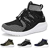 WETIKE Kids Shoes Boys Girls Sneakers Lightweight Sports Shoes Slip On Athletic Running Walking School Shoes Casual Trainer Socks Shoes with Wide Width Black Size 13