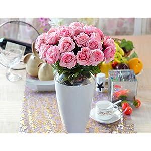Leegoal(TM) Wholesale Artificial Silk Latex Rose Flowers Wedding Bouquet Bridal Decoration Bundles Real Touch Flower Bouquets Realistic Flower Bouquet(Pink White,10Pcs) 50