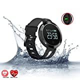 Relee Fitness Tracker Watch,Activity Tracker With Heart Rate Blood Oxygen Pressure Monitor Samrt Watch IP67 Waterproof for Kids Wristband Watch for IOS Iphone Android (Black)