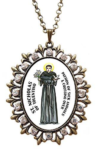 St Nicholas of Tolentino Sick Animals Huge Bronze Medallion Rhinestone Pendant