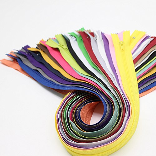 YaHoGa 60pcs 18 Inch (45cm) Nylon Coil Zippers for Tailor Sewing Crafts Nylon Zippers Bulk 20 Colors (3pcs per color) (18″ 60pcs)