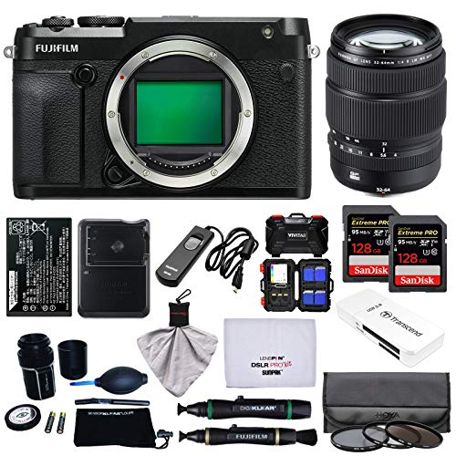 Fujifilm GFX 50R Medium Format Digital Camera Body with 32-64mm f/4.0 R LM WR Lens + 128GB Cards + Battery + Charger + Filters + Kit