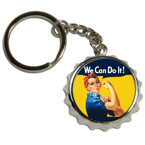 Graphics and More Rosie The Riveter - War Poster - Nickel Plated Metal Popcap Bottle Opener Keychain Key Ring
