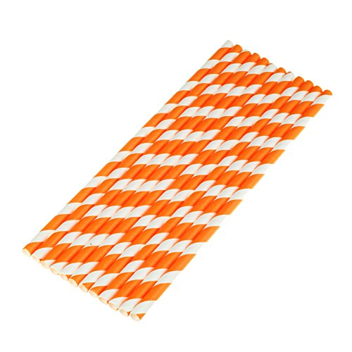 vLoveLife 25pcs Orange & White Biodegradable Paper Straws Striped Drinking Straws for Valentine's Day Wedding Birthday Party Celebrations Baby Shower Drinking Decoration Favors Supplies