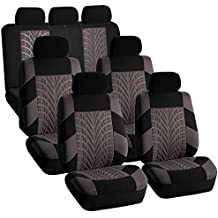 FH GROUP FH-FB071217 Complete Three Row Set Travel Master Seat Covers Gray / Black, (Airbag Ready & Rear Split) - Fit Most Car, Truck, Suv, or Van