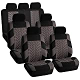 FH Group FH-FB071217 Complete Three Row Set Travel Master Seat Covers Gray/Black, (Airbag Ready & Rear Split) - Fit Most Car, Truck, SUV, or Van