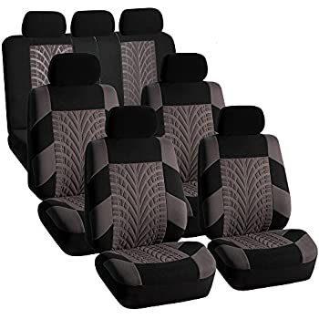 FH GROUP FB071217 Complete Three Row Set Travel Master Seat Covers Gray Black Airbag Ready Rear Split