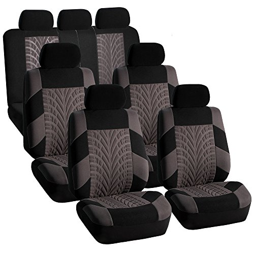 FH Group FH-FB071217 Complete Three Row Set Travel Master Seat Covers Gray/Black, (Airbag Ready & Rear Split) - Fit Most Car, Truck, SUV, or - Town Country Rear & Seat