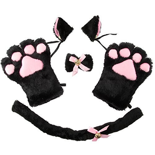Anime Cat Costumes (Acecharming 4pcs Cat Cosplay Fancy Costume Neko Anime Costume Lolita Gothic Set (Black))