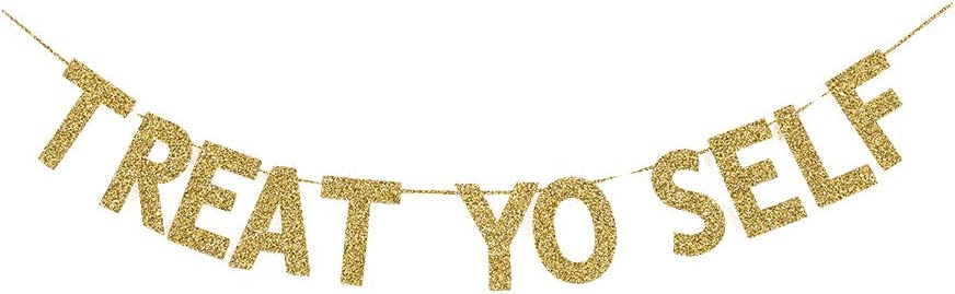 Treat Yo Self Banner, Candy/Dessert/Food/Ice Cream/Hotdog/Cupcakes/Popcorn/Drinks Table Decorations Sign for Home Party, Wedding/Engagement Party