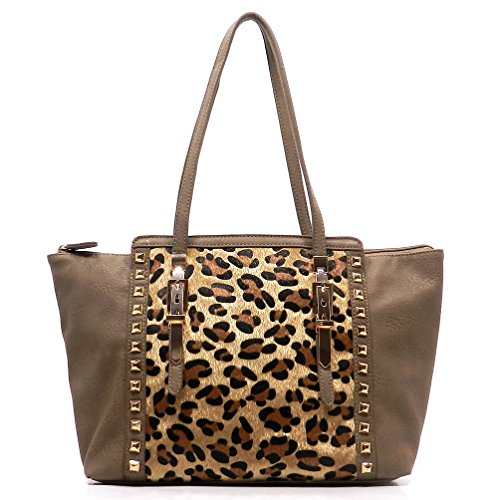 Print Large Shopper Handbag (Leopard Printed Faux Calf Hair Rockstud Shopper Tote Women's Large Handbag)