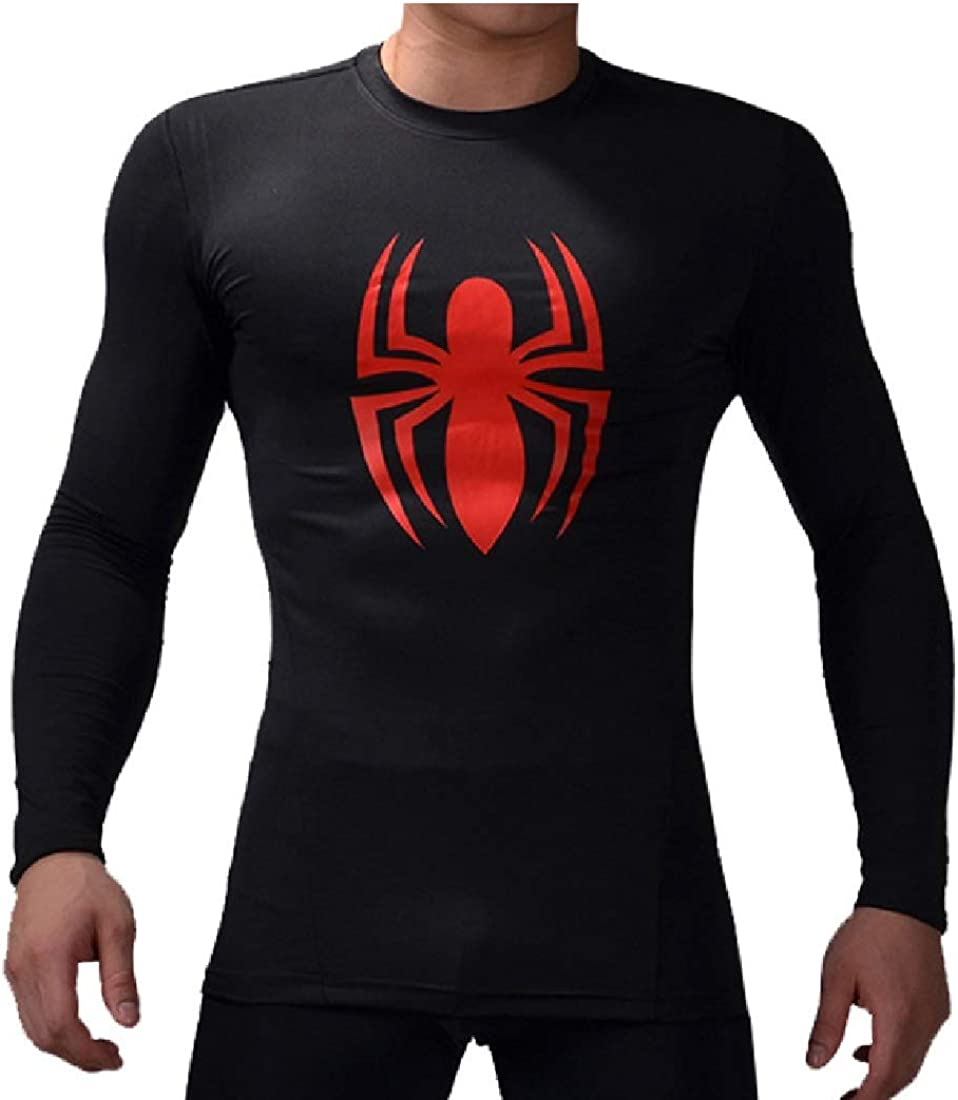 GYM GALA Superhero for Man Shirt Long Sleeve Casual and Sports 3D Print Compression Shirt