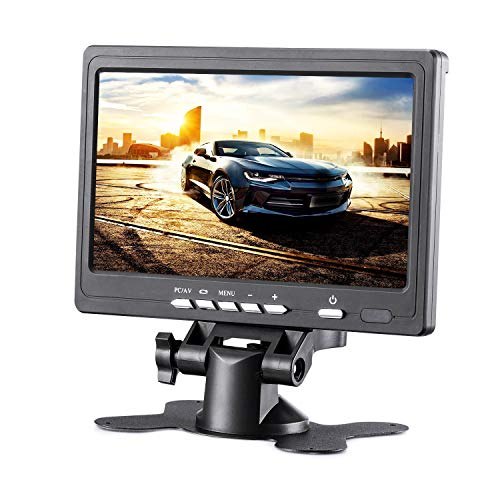 KALESMART Upgrade 7 Inch HD LCD Monitor, IPS 1024X600 Resolution Screen, Car Rearview Cameras Monitor with Two Video Input for Backup Camera for Car DVD VCR PC Laptop Raspberry Pi