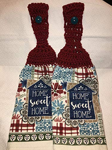 - Free ship to USA - 2 piece set - Country Chic Home Sweet Home - 2 CROCHET double side terry cloth crochet top towels with Ranch Red 100% acrylic yarn