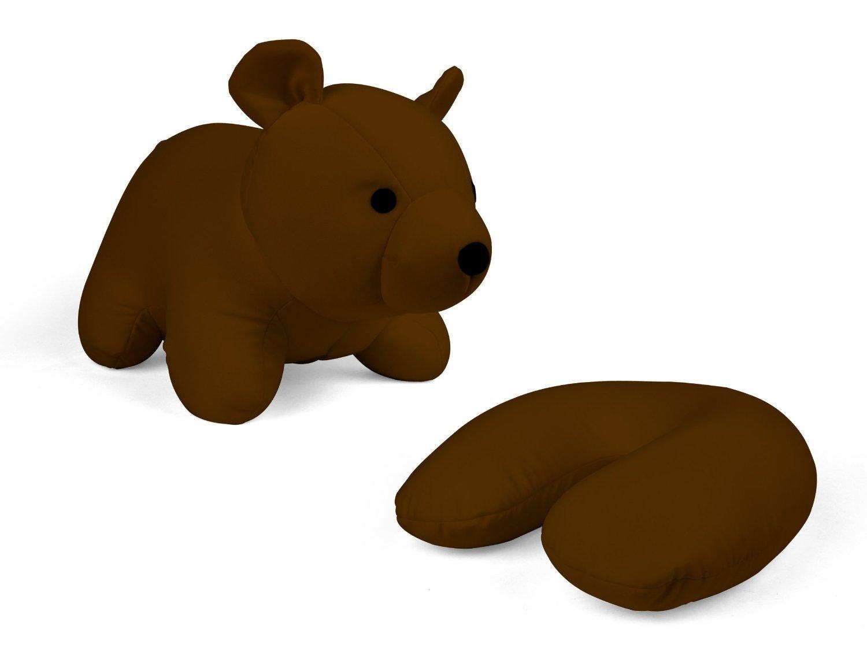 Kikkerland Zip and Flip Bear Travel Pillow, Brown