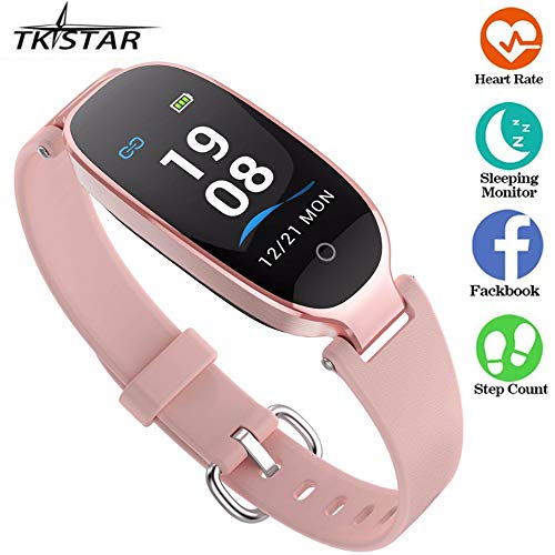Fitness Tracker,Women Smartwatch Color Screen with Sleep Heart Rate Monitor 7 Day Long Standby Waterproof Bluetooth Pedometer Wristband Support iOS Android S3