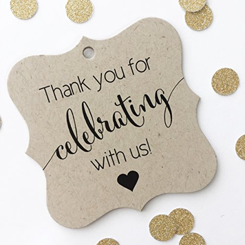 [Thank You Favor Tags, Thank You Wedding Tags, Thank you for Celebrating With Us (FS-362-KR)] (Handmade Wedding Tag)