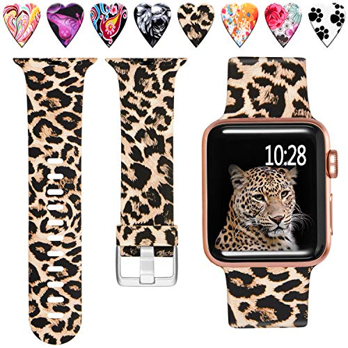 4 Leopard - Laffav Compatible with Apple Watch Band 40mm 38mm iWatch Series 4 3 2 1 for Women Men, Classic Leopard, M/L