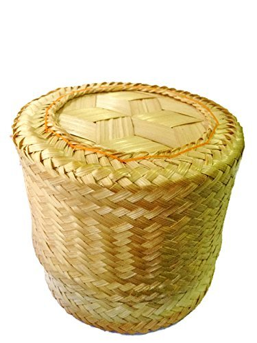 Thai Traditional Handmade ''Kra-Tip'' Sticky Rice Serving Basket Medium Size 5''x4