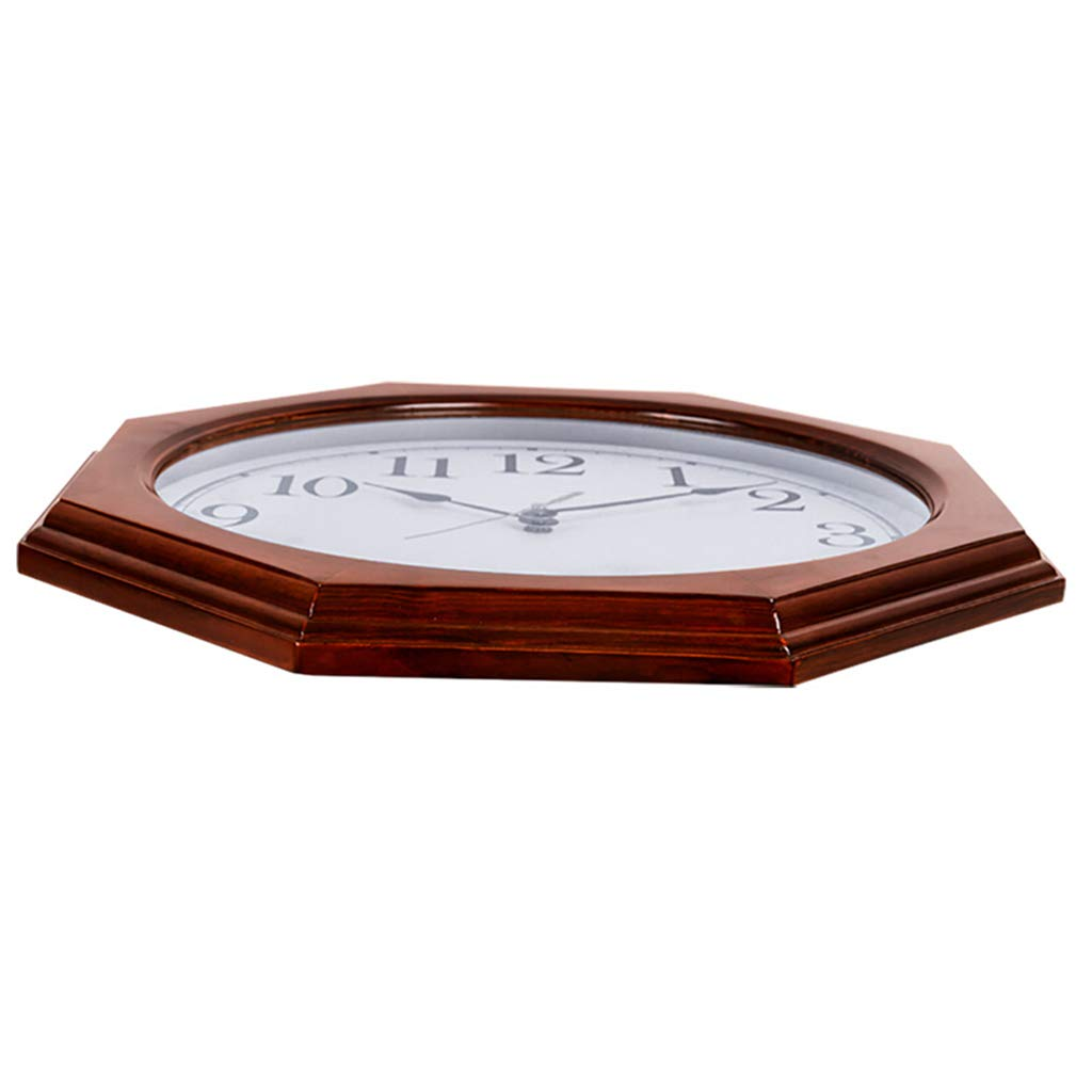 Wall Clock Battery Operated Non Ticking Decorative Living Room Decor Silent Bedroom Kitchen Vintage Chinese Retro Quartz Octagon Solid Wood (Color : A)