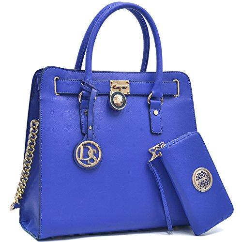 MMK collection Women Fashion Pad-lock Satchel handbags with wallet(2553)~Designer Purse for Women ~Multi Pocket ~ Beautiful Designer Handbag Set