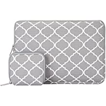 Mosiso Quatrefoil Style Canvas Fabric Laptop Sleeve Bag Cover for 13-13.3 Inch MacBook Pro, MacBook Air, Notebook with Small Case, Gray