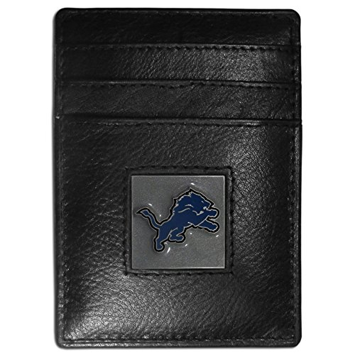 (Siskiyou Detroit Lions Leather Money Clip/Cardholder Packaged in Gift Box)