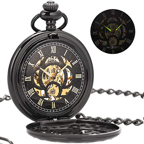 ManChDa Vintage Black Mechanical Hollow Hunter Hand Wind Pocket Watch Luminous Pointer with Chain for Men + Gift Box