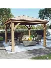 Gazebo With Aluminum Roof By Yardistry Cedar Wood 12u0027 X 12u0027, Perfect  Addition