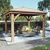 Gazebo with Aluminum Roof by Yardistry Cedar Wood 12' x 12', Perfect Addition for Patio or Garden