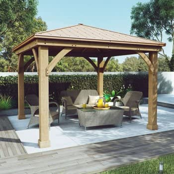 Gazebo with Aluminum Roof by Yardistry Cedar Wood 12u0027 x 12u0027 Perfect Addition & Amazon.com: FSC Certified Cedar Wood Aluminum Roof 14u0027 x 12 ...