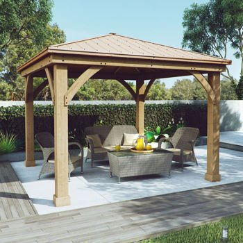 Gazebo With Aluminum Roof By Yardistry Cedar Wood 12u0027 X 12u0027, Perfect  Addition