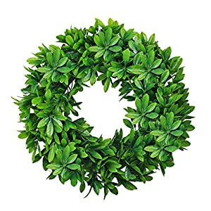 """NAHUAA 18"""" Artificial Wreath for Front Door Decor Faux Silk Schefflera Leaf Garland armhouse Spring Home Office Housewarming Gift Easter Decorations 102"""