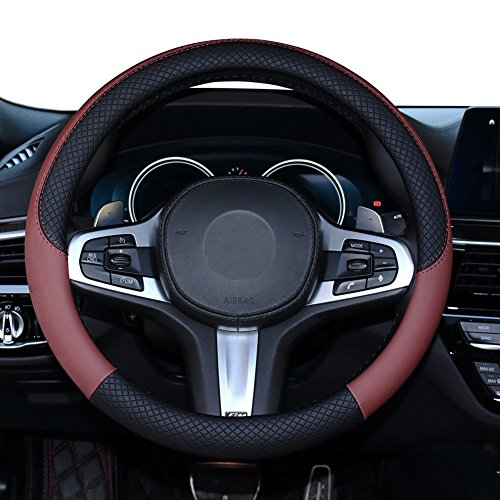 (SHIAWASENA Car Steering Wheel Cover, Genuine Leather, Universal 15 Inch Fit, Anti-Slip & Odor-Free (Black&Red) )