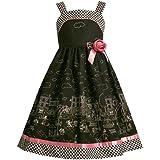 Bonnie Jean Girls 4-6X Black White Pink Paris Motif Border Print Woven Dress