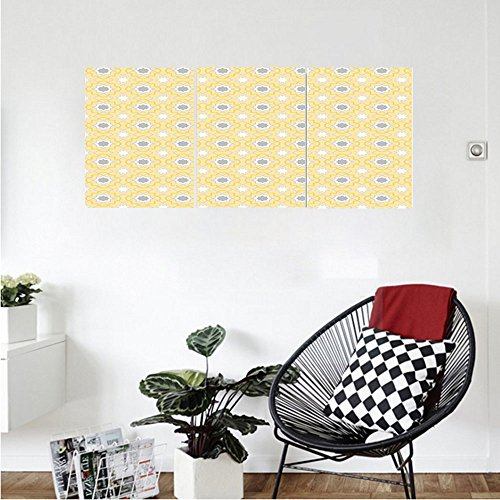 Far Eastern Decor (Liguo88 Custom canvas Quatrefoil Decor Far Eastern Style Girih Tiles Pattern In Clover Figures With Moroccan Star Print Bedroom Living Room Decor Baby Blue White)