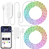 Smart LED Strip Lights, MINGER Dream Color Changing Light Strip Music Sync with Brighter 5050 LEDs and Strong Adhesive Tape, Works with Controller and Phone App Waterproof for Indoor Outdoor, 32.8ft