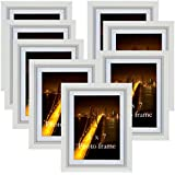 PETAFLOP 5x7 Picture Frame Set Hold 5 by 7 inch White...