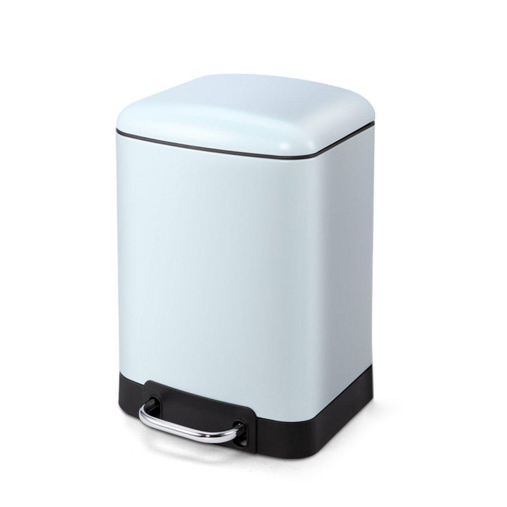 現代の台所ごみ箱、クリエイティブなステンレス製のペダルハンドルリビングルームの廃物紙のバケツ (Color : Blue-6l) B07D1N3G2P Blue-6l Blue-6l