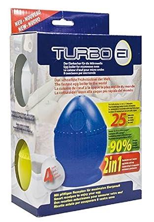 Turbo EI el Hervidor de huevos para microondas, Juego de 4 en los colores blanco, Amarillo, Azul y Rojo: Amazon.es: Hogar